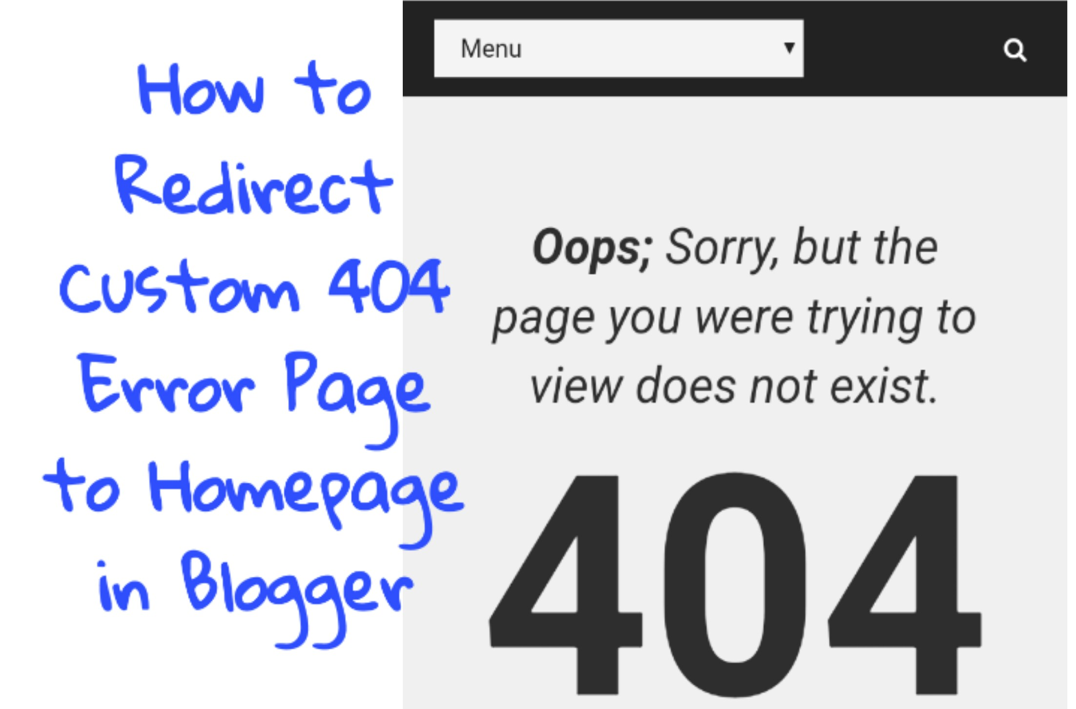 How to redirect custom 404 error page to homepage in blogger.