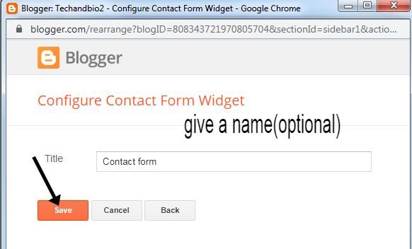 how to add contact form in blogger.