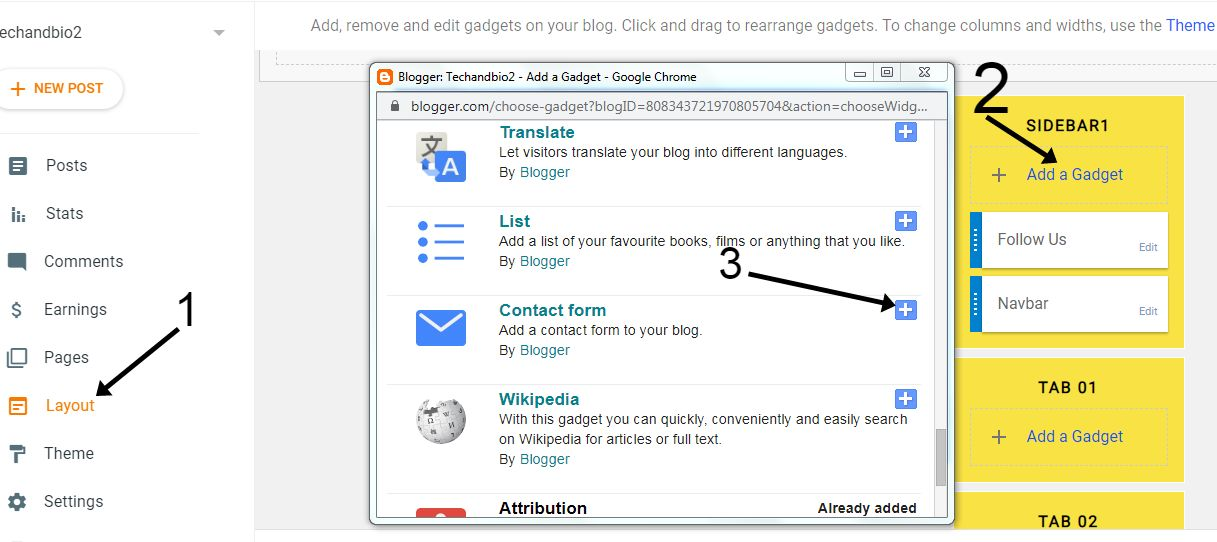 add contact form in blogger.