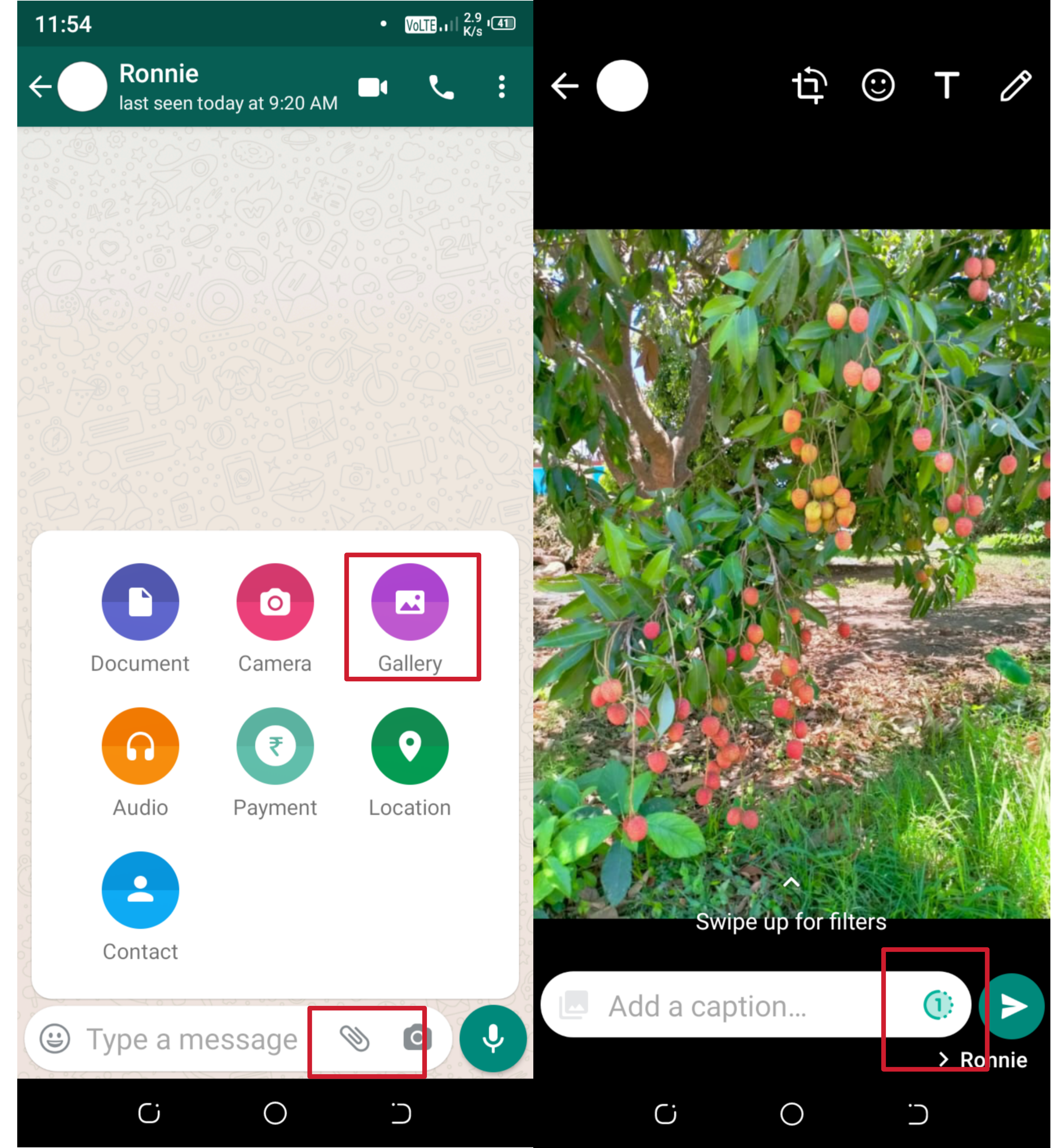 how to send view once photo on whatsapp